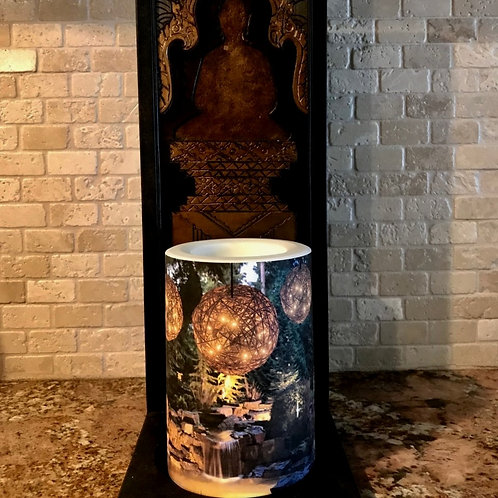 Evergreen Fall,  Flameless Candle, 4x6, Keleka Designs