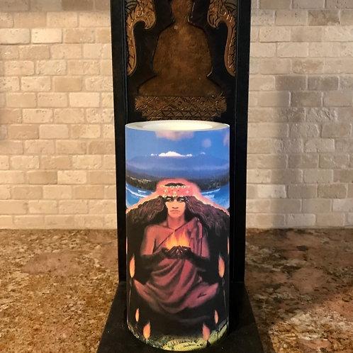 Pele, Hawaii Goddess of Fire, Flameless Candle, 4x8, Keleka Designs