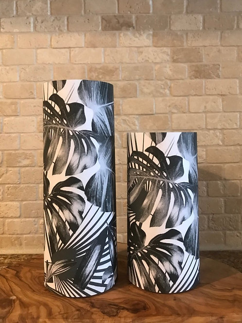 Shades of Palms, Set, Flameless Candle, 3x6,3x8, Keleka Designs