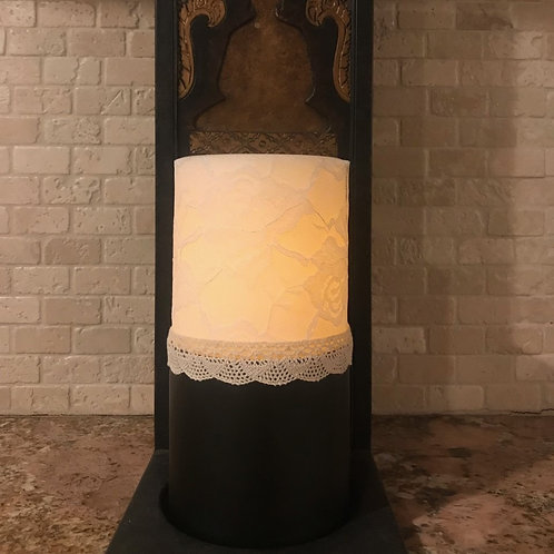 Leather and Lace, Tall,  Flameless Candle, 4x8, Keleka Designs