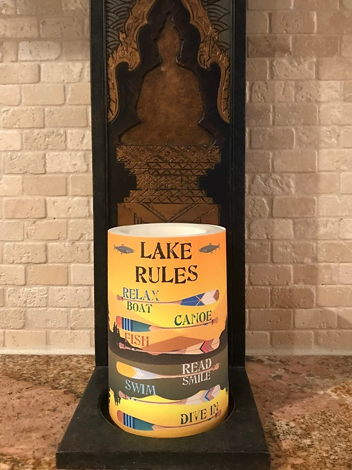The Lake Rules, Flameless Candle, 4x6, Keleka Designs
