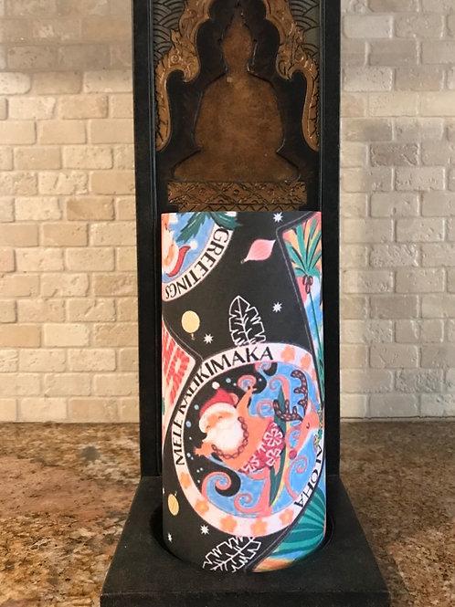 Mele Kalikimaka, Tall,  Flameless Candle, 4x8, Keleka Designs