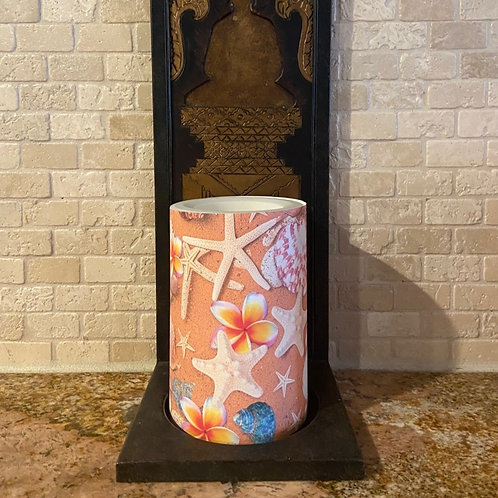 Plumeria Stars, Flameless Candle, 4x6, Keleka Designs