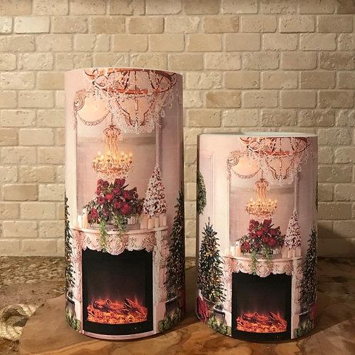 Christmas Fireplace, Set, Flameless Candle, 4x6, 4x8, Keleka Designs