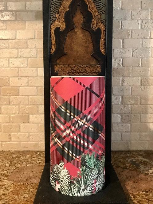 Plaid Christmas, Tall,  Flameless Candle, 4x8, Keleka Designs