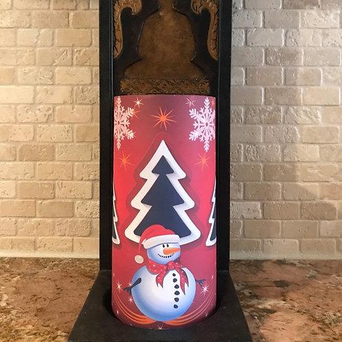 Snowman Troy, Tall, Flameless Candle, 4x8, Keleka Designs