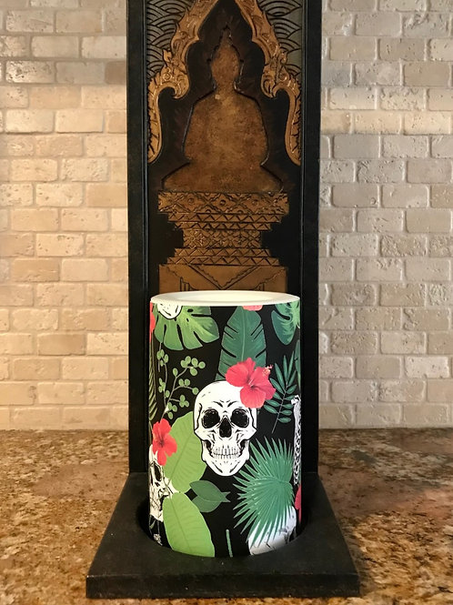 Hawaiian Halloween,  Flameless Candle, 4x6, Keleka Designs