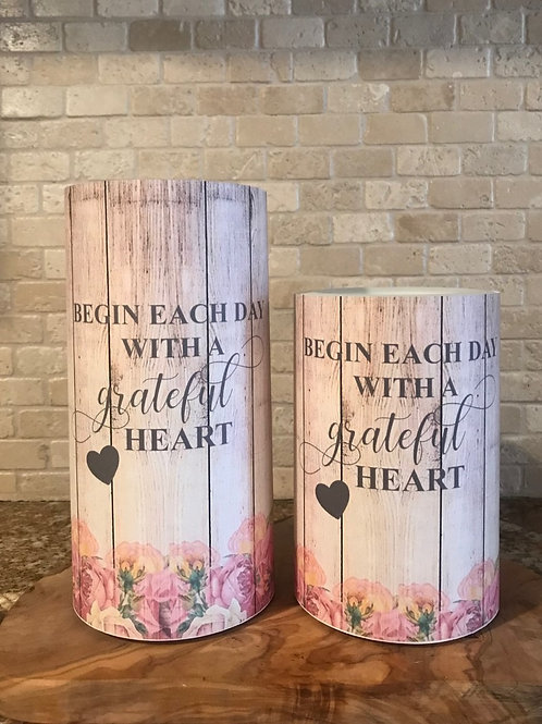 Grateful Heart, Set, Flameless Candle, 4x6, 4x8, Keleka Designs