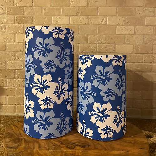 Blue & White Hibiscus, Set, Flameless Candle, 4x6,4x8, Keleka Designs