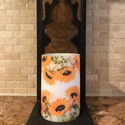 Sunflowers of Fall, Flameless Candle, 4x6, Keleka Designs