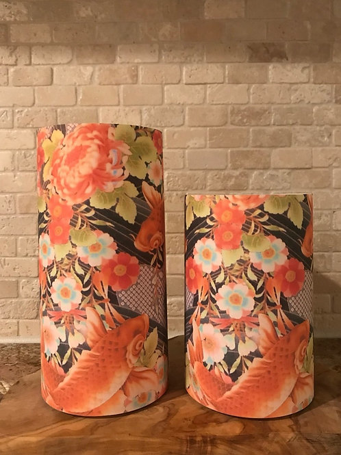 Blooming Koi Fish Pond, Set, Flameless Candle, 4x6, 4x8, Keleka Design