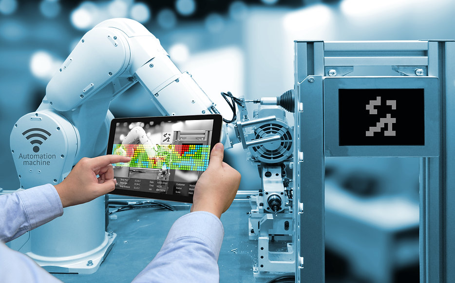 Industry 4.0 concept .Man hand holding t