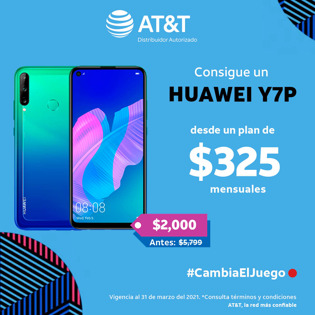 HUAWEI Y7P desde un plan de $325 con AT&