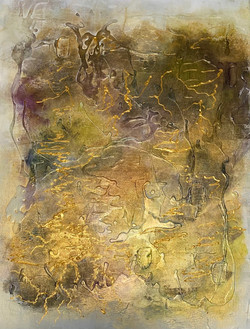 Abstract Painting in gold, 20x45, multimedia