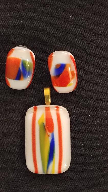 FG Orange Blue Yellow White Pendantand earrings