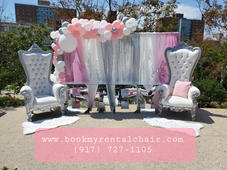 White Silver THrone Chair for Rental + B