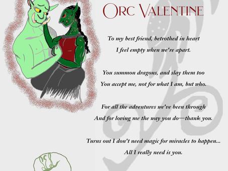 Orc Valentine Greeting Card Poem