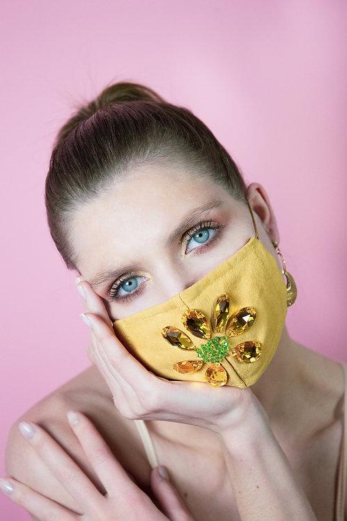 Masque Covid fleur jaune