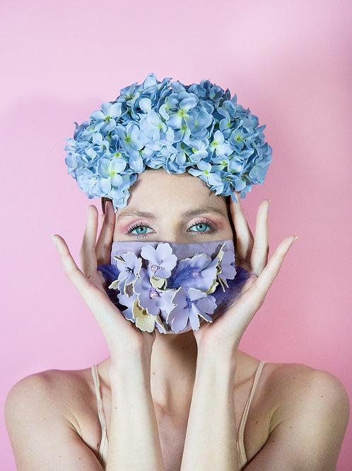 Masque Covid fleurs mauves