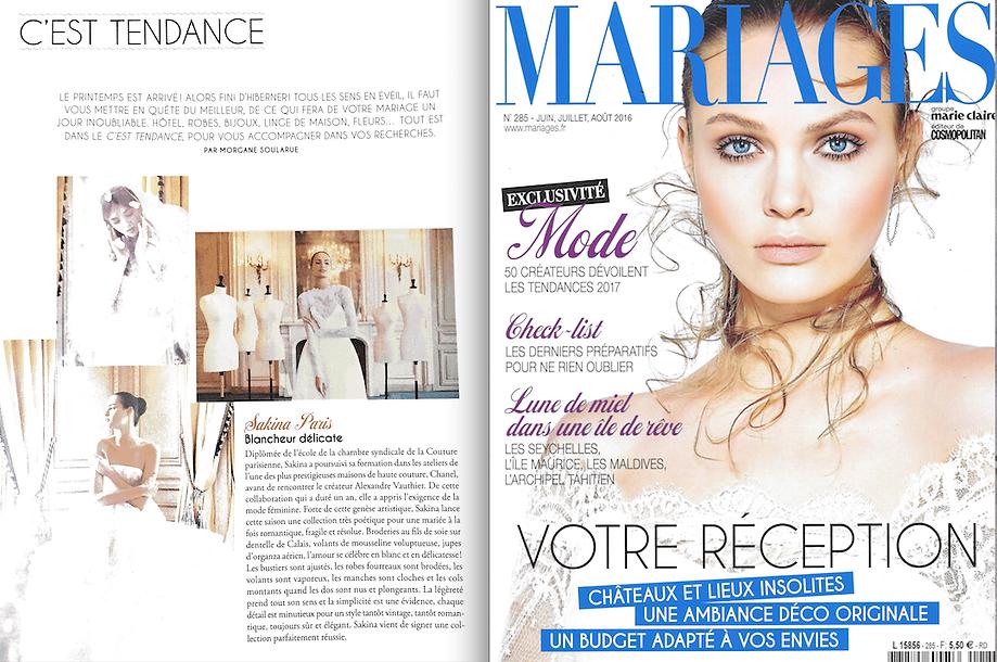 article sur Sakina Paris dans le magazine Mariages