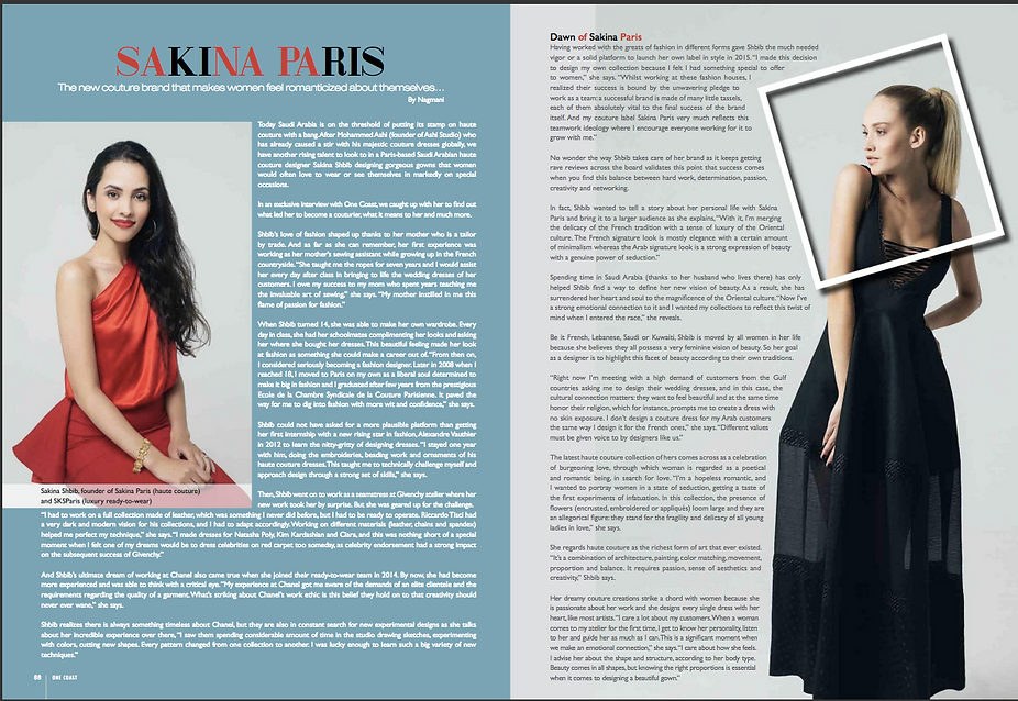 Article about Sakina Paris in One Coast Magazine