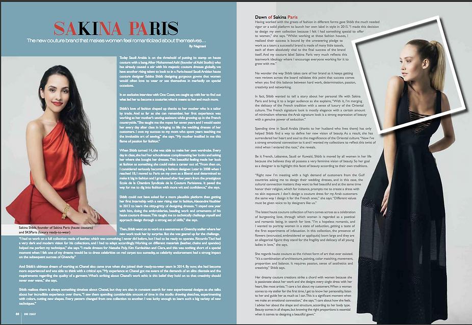 Article about Sakina Paris in One Coast Magazine