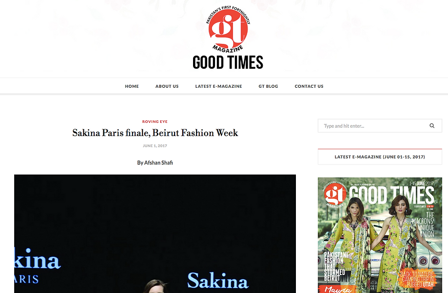 Article about Sakina Paris in Good Times Magazine