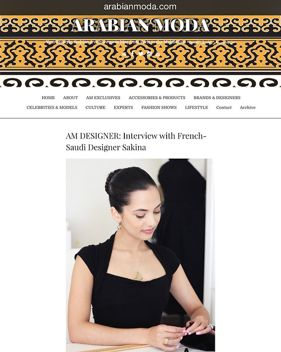 Article Arabian Moda sur Sakina paris