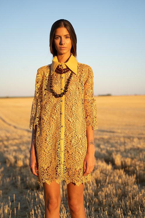 Robe guipure jaune