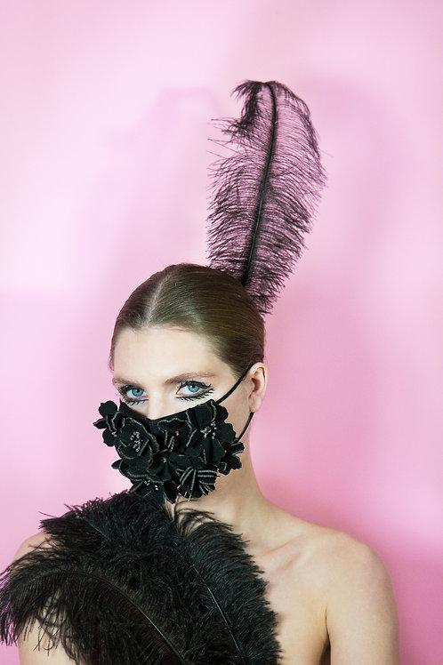 Masque Covid fleurs noires