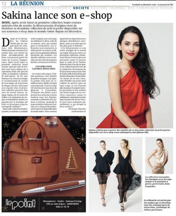 Aritcle dans le journal de la Réunion sur Sakina Paris