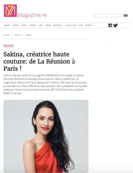 Article sur Sakina Paris sur le site 7 Magazine
