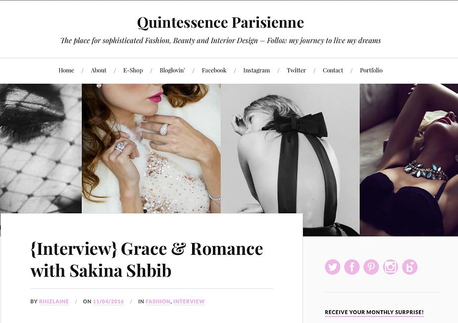 Article sur Sakina Paris sur le blog Quintessence parisienne