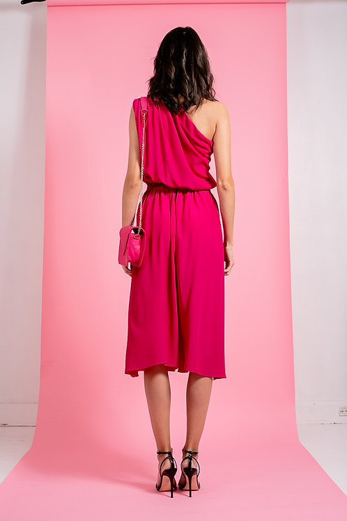 Robe asymétrique à enfiler rose fushia