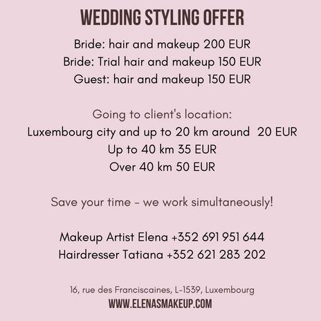bridal hair and makeup full look 200 EUR