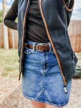 Top - New Look Gilet - Schoffel in Navy Skirt - New Look Belt - Pampeano