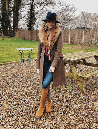 Fedora - Hicks & Brown Top - Guinea London Jeans - Dorothy Perkins Boots - Fairfax & Favor Coat - Joules Silk Scarf - Clare Haggas