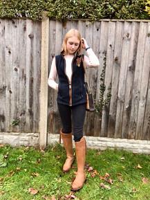 Jumper - H&M Gilet - Schoffel Jeans - Dorothy Perkins Boots - Fairfax & Favor Bag - Fairfax & Favor Feather Pin - Feather Lass
