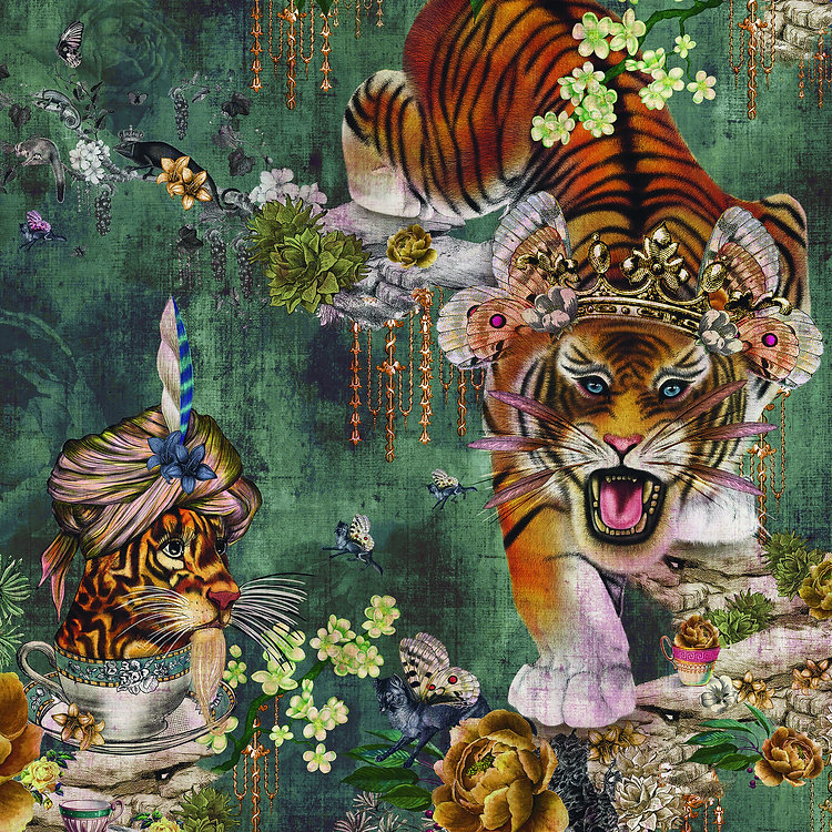 A wallpaper design featuring bold tigers and teacups on a vintage green background with distrressed texture and quirky details.