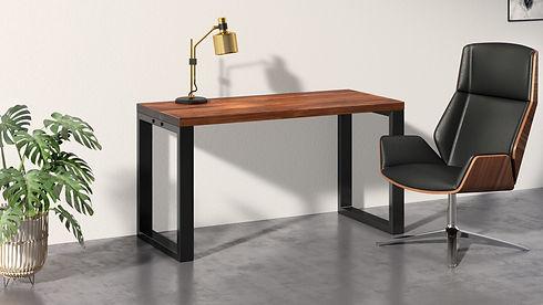 Walnut office desk scene executive chair
