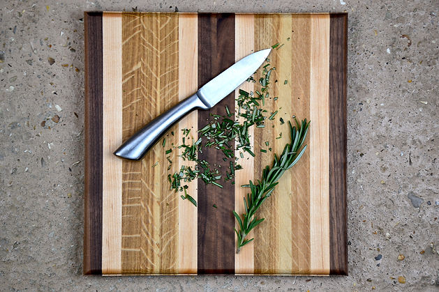 square wooden chopping board herbs small