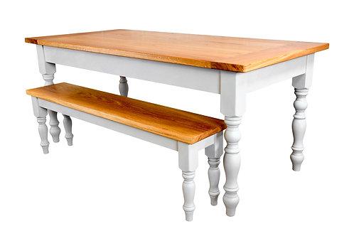 French Oak Farmhouse Table - 6-8 seater - Paris Grey