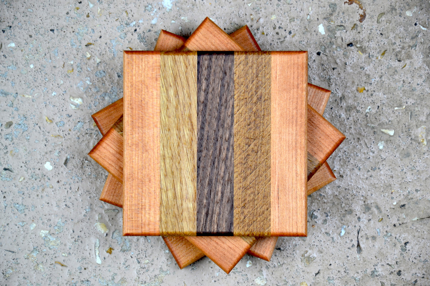 wooden cherry cup coasters set handmade.