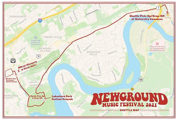 New Ground Music Festival Shuttle Map