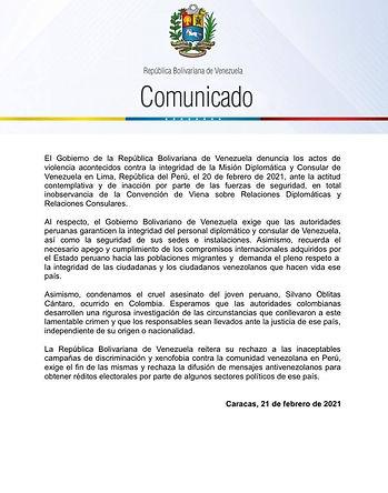 Venezuela denuncia actos de violencia xenofóbica contra su embajada en el Perú