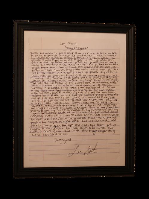 "Hand Written & Autographed Loc Saint ""Trigga'Tonguez"" Verse"