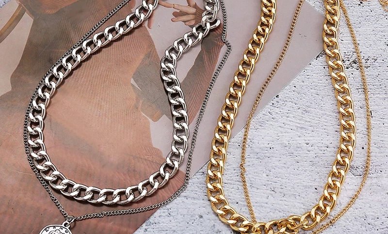 Gold Silver Coin Necklace For Women