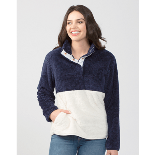 Fleece Pullover - Navy/White or Gray/White