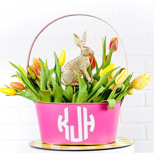 Pink Metal Easter Basket