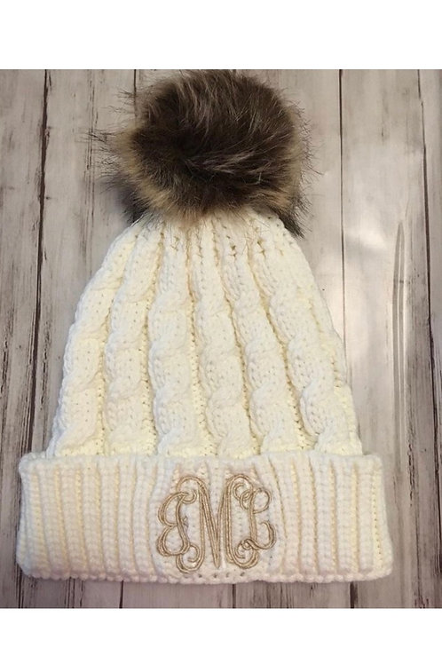 Pom Pom Hat - Ivory